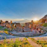 Etna vulkaan en theater van Taormina