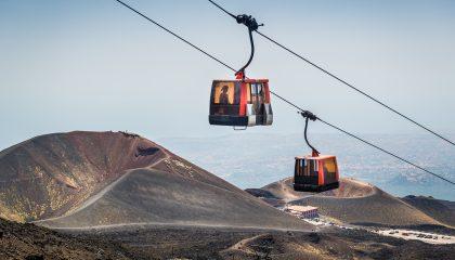 Kabelbaan Etna Zuid boven de Silvestri kraters